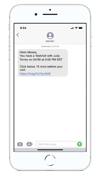 televisit-patient-text-message-screen-iphone